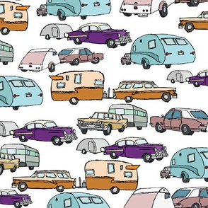 retro vacationing campers