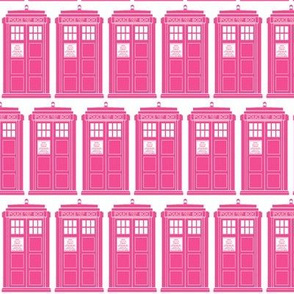 Tiny pink police boxes