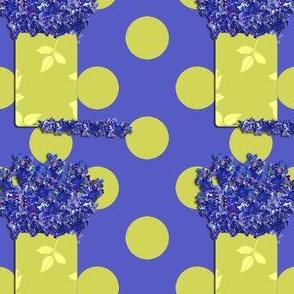 Delphinium in vase on polka dots