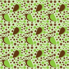 Modern Green Owls Polka Dots