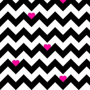 Heart & Chevron - Black/Pink