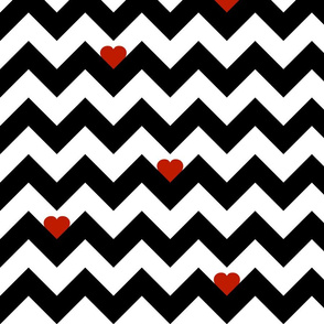 Heart & Chevron - Black/Red