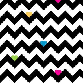 Heart & Chevron - Black/Multi
