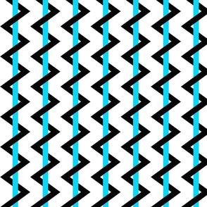 Stripe Chevron black - blue - white