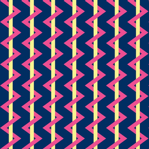 Stripe Chevron navy - yellow - pink