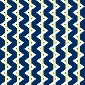 Stripe Chevron Navy - yellow - white