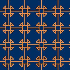 square knot orange - navy