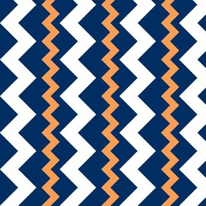 Two Frequency Chevrons orange - navy - white