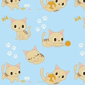 Cute Retro Kitties - Blue & Orange