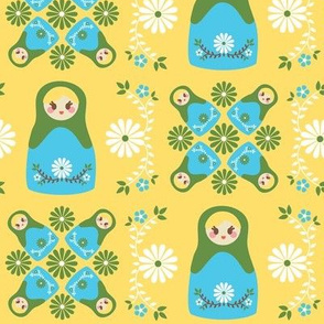 Cute Nesting Dolls - Yellow