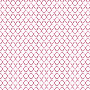 quatrefoil hot pink on white - small