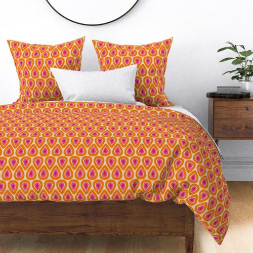 Fabric by the Yard Pink and Orange Ikat Drops on Linen
