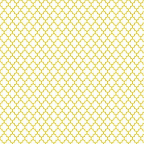 quatrefoil mustard yellow on white - small
