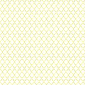 quatrefoil lemon yellow on white - small
