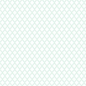 quatrefoil ice mint green on white - small