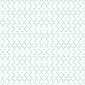 quatrefoil mint green on white - small