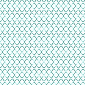 quatrefoil teal on white - small