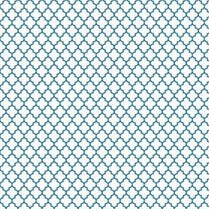 quatrefoil royal blue on white - small