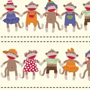 Sock Monkey Manners border stripe