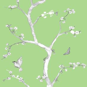 Jenny Modern cherry blossoms on fresh green