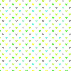Love Hearts in green shades