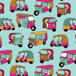 India rickshaw tuctuc illustration pattern