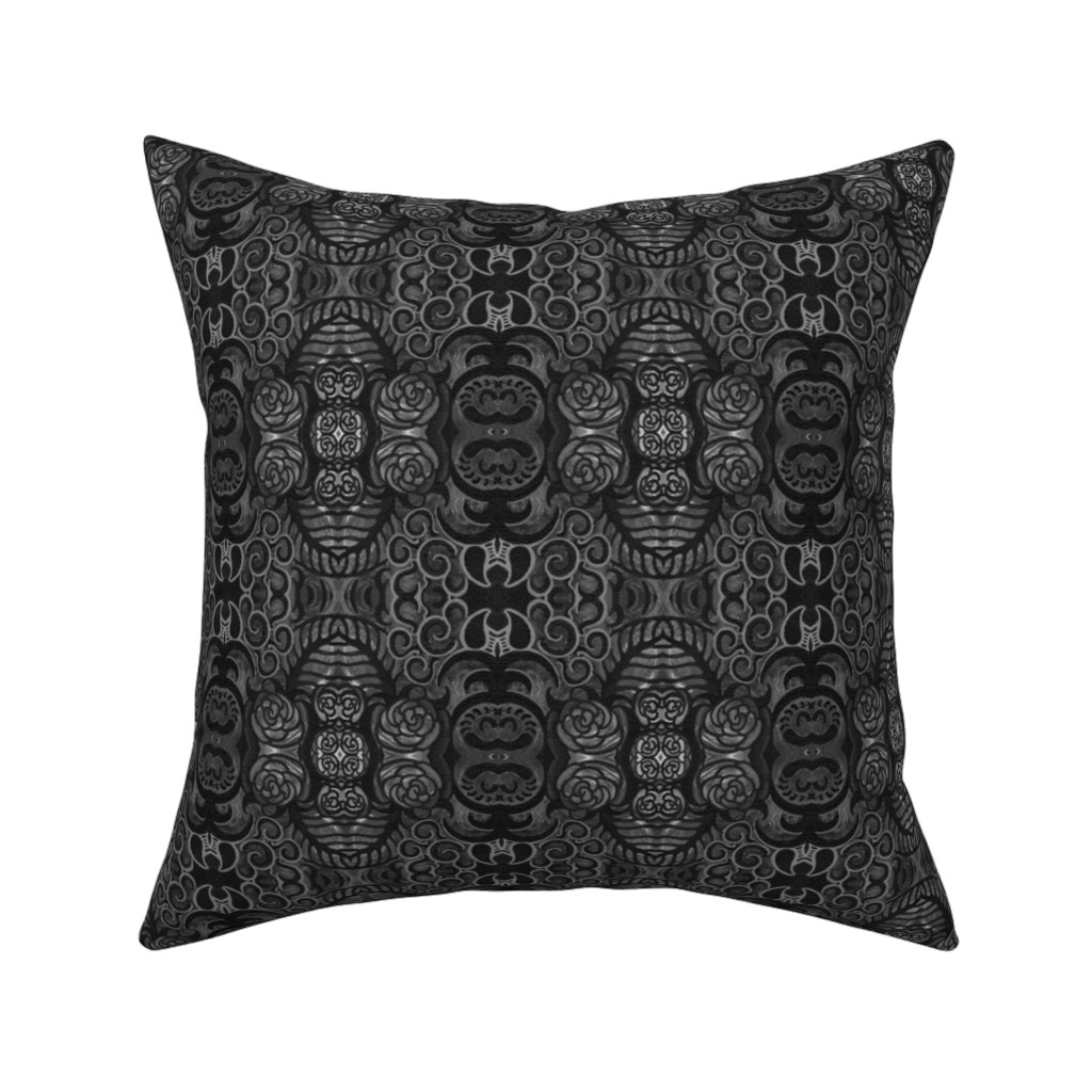 Catalan Throw Pillow featuring gray floral abstract by dunnspun