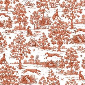 Brick Red Greyhound Toile ©2010 by Jane Walker