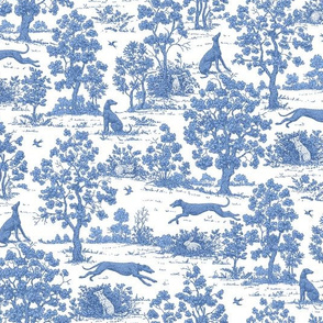 Soft Blue Greyhound Toile ©2010 by Jane Walker