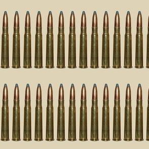Brass Rifle Ammo Bandolier on Tan