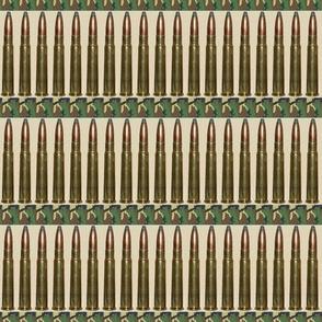 Brass Rifle Ammo Bandolier on Tan Camo