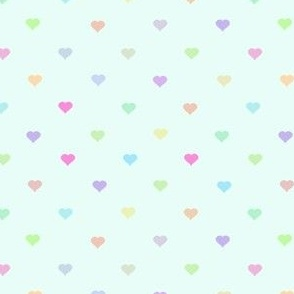 tiny pastel rainbow hearts on mint - adorable kawaii heart pattern