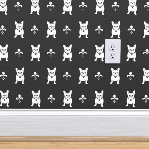 Wallpaper French Bulldog Fleur De Lis Charcoal