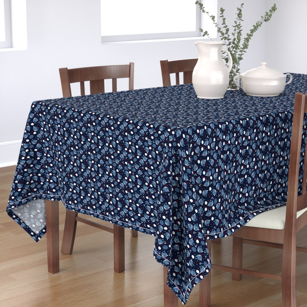 Bantam Rectangular Tablecloth featuring Nautical Narwhal by emandsprout
