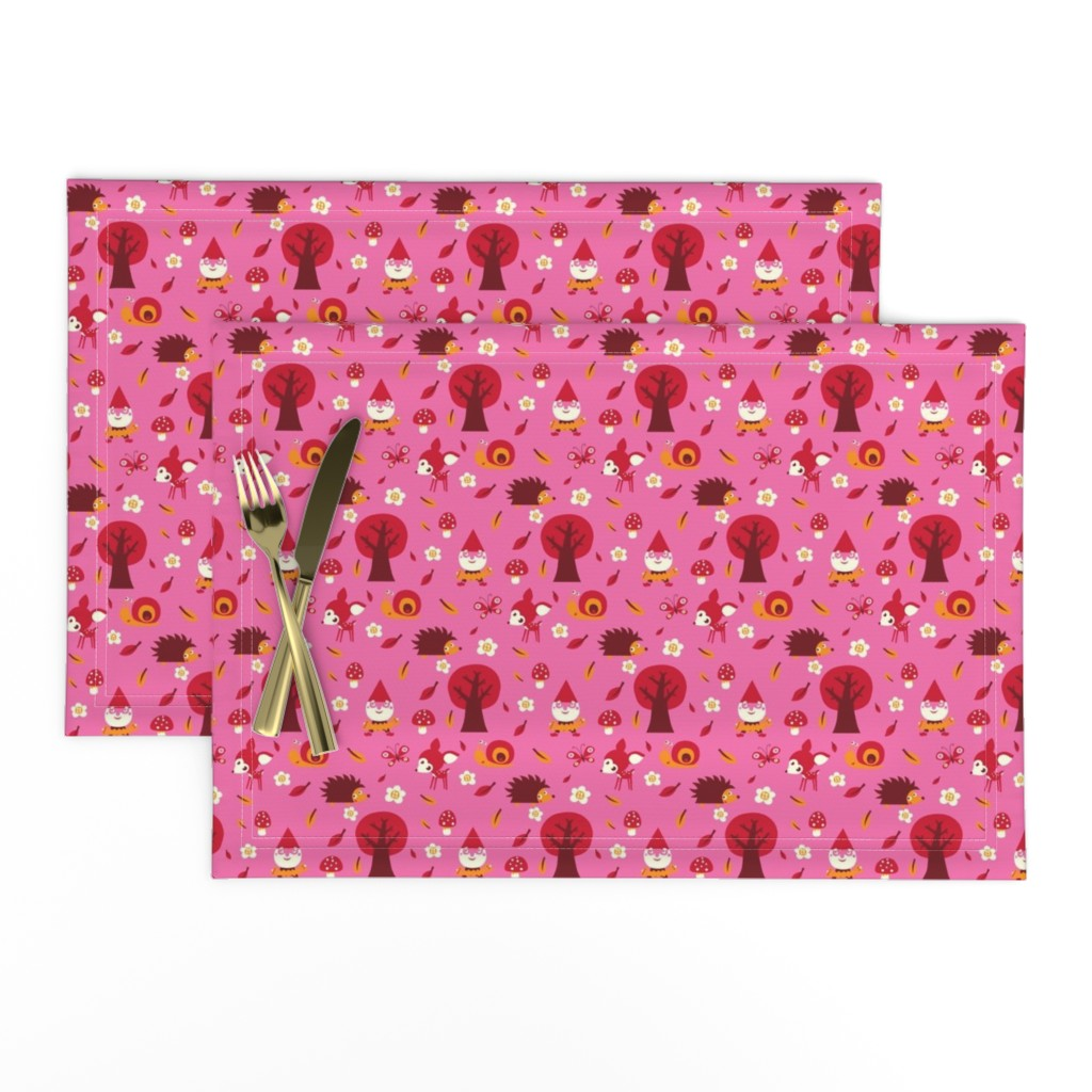 Lamona Cloth Placemats featuring Forest in pink by bora
