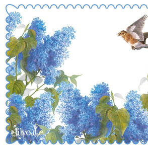 Lilacs and Skylark Tea Towel