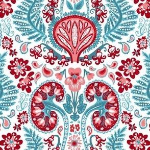 Kidney Damask Red/Teal