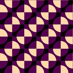 Harlequin circles and squares maroon