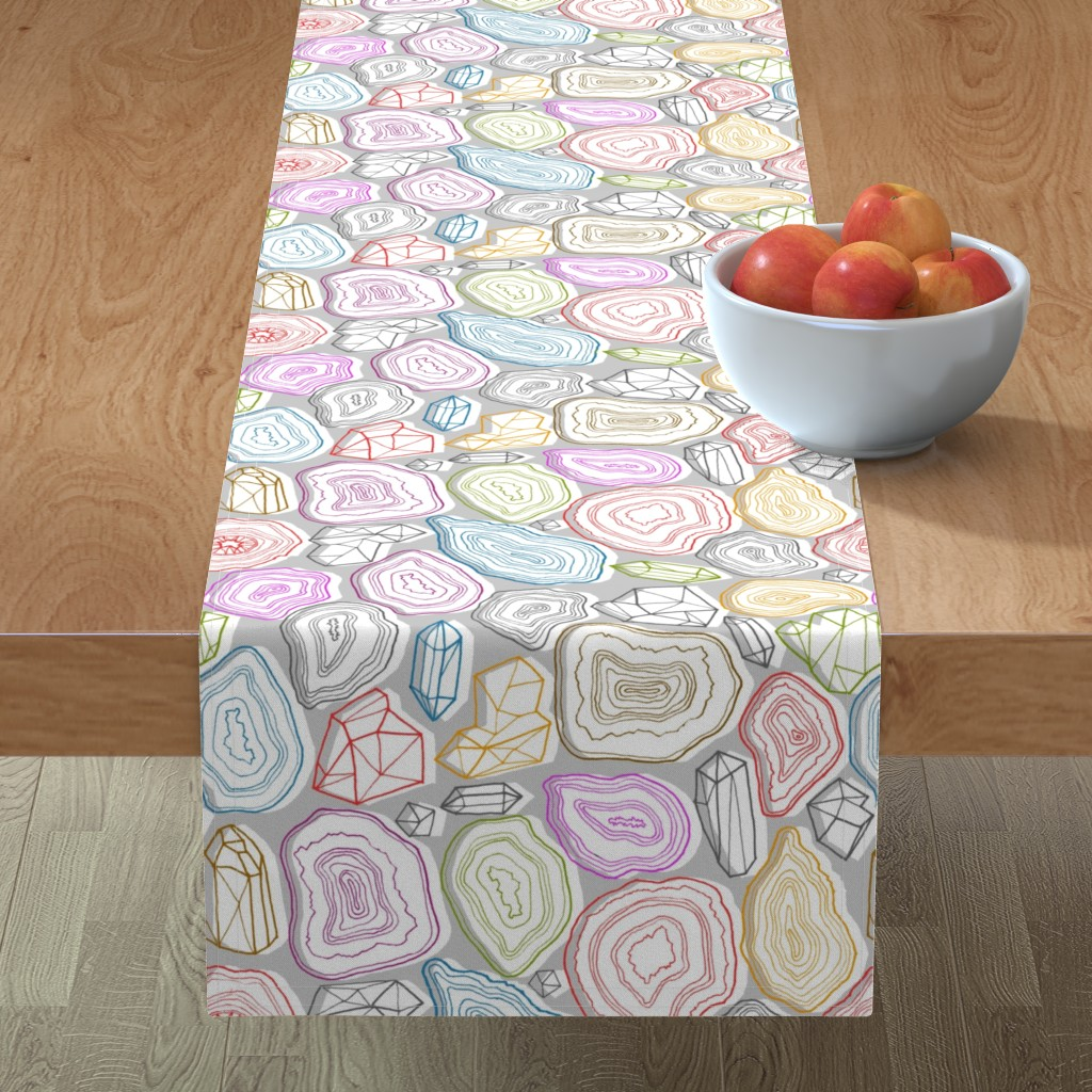 Minorca Table Runner featuring pastel geodes  by kristinnohe