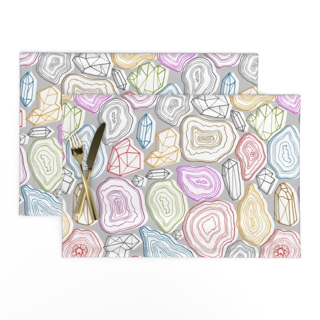 Lamona Cloth Placemats featuring pastel geodes  by kristinnohe