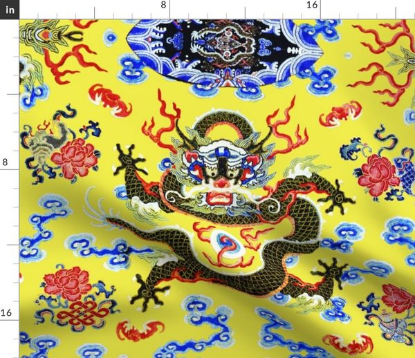 Fabric by the Yard big royal novelty thrones embroidery asian japanese  china chinese oriental cheongsam kimono dragon infinity knot clouds fire