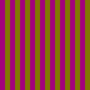 Pomegranate and Olive Green Vertical Stripes