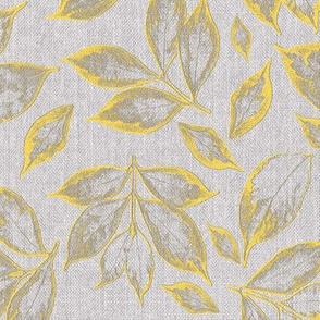 burlap grey and yellow