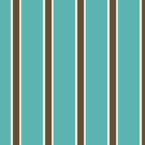 Teal Blue, Chocolate Brown, and Cream Vertical Stripes