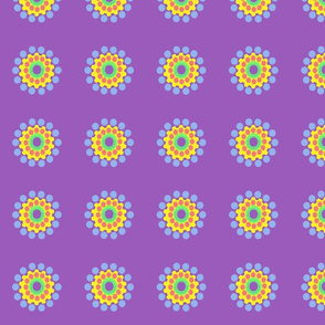 Pop Dot Flowers on Purple