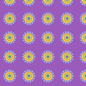 Pop Dot Flowers on Purple
