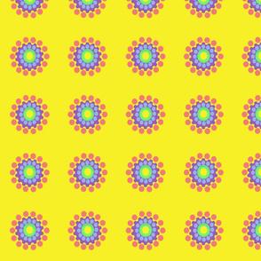 Pop Dot Flowers on Yellow