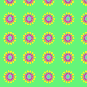 Pop Dot Flowers on Bright Green