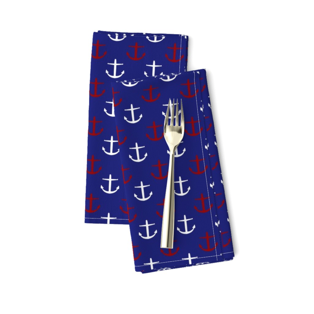 Amarela Dinner Napkins featuring Small Red and White Anchors on Blue by jozanehouse