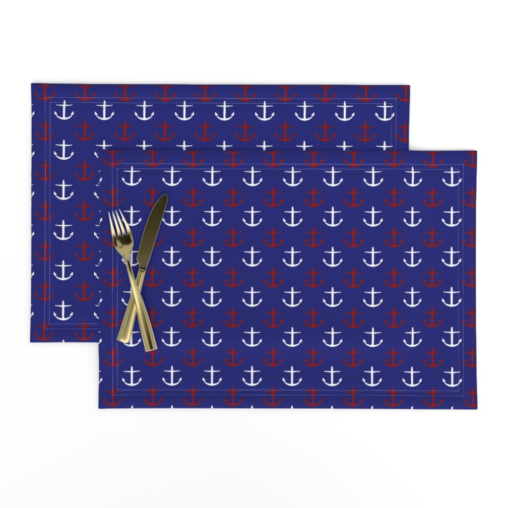 Lamona Cloth Placemats featuring Small Red and White Anchors on Blue by jozanehouse